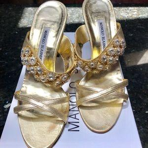 Manolo Blahnik Gold Jewel Sandals